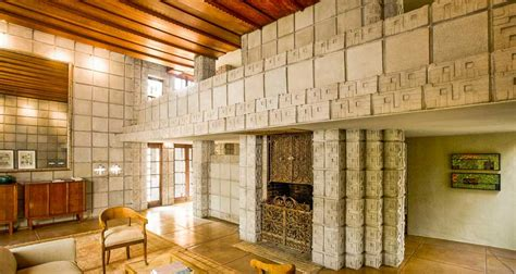 Frank Lloyd Wright Home Interiors Frank Lloyd Wright Millard House Concrete Block Interior Living Wooded Ceiling Walls