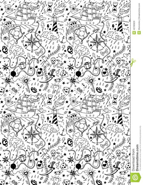 pattern background tattoo nautical seamless pattern in tattoo style stock vector
