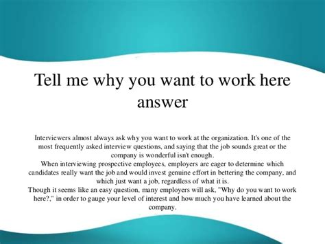 Why Do You Want To Do Mba Answer by Tell Me Why You Want To Work Here Answer