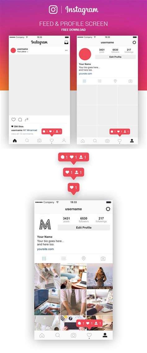 layout instagram telecharger free instagram feed profile screen psd ui kit ux