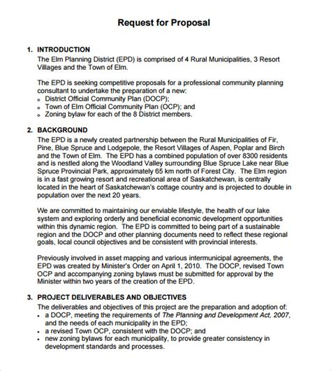 rfp format template rfp template 7 documents in pdf word