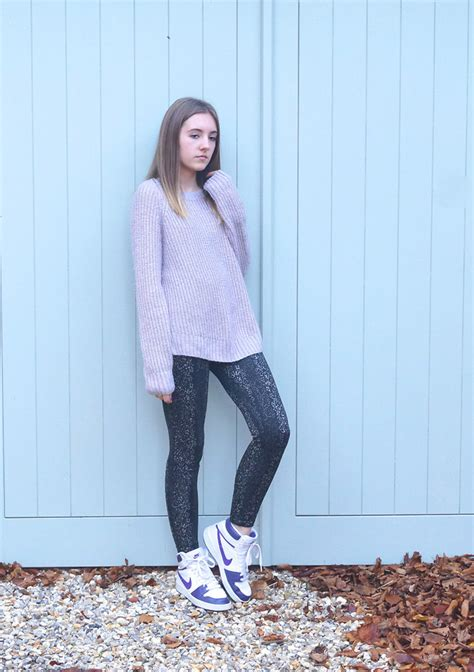 patterned tights lookbook sophie c thrifted jumper next patterned leggings nike