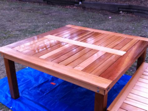 Diy Wood Patio Table White Simple Square Cedar Outdoor Dining Table Diy