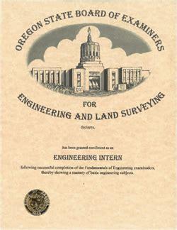 oregon state board  examiners  engineering  land surveying intern wall declaration