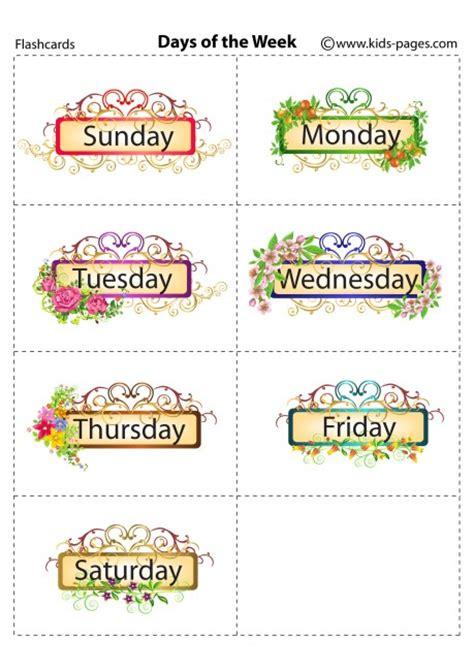 printable board games days of the week 8 best images of printable flashcards days of the week