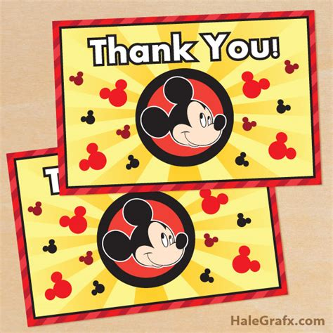 free mickey mouse thank you card template free printable mickey mouse thank you card
