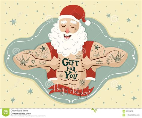 greeting card with tattoos santa vector stock