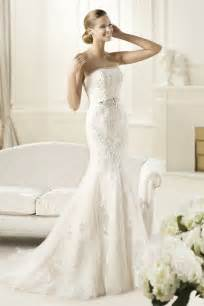 Trumpet strapless court train new style wedding dresses with applique