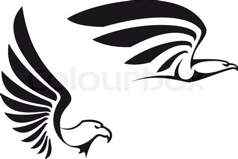 black eagles isolated on white background for mascot or