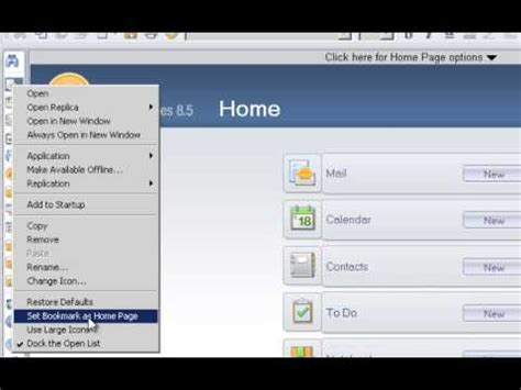 lotus notes 8 5 x set mail as default home page