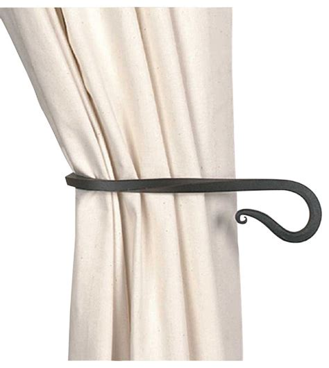 tie back curtains window treatments tie back black wrought iron curtain 9 quot long traditional
