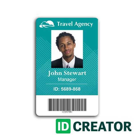https www idcreator id card templates plastic id cards basic secuity id html travel agency employee id card from idcreator