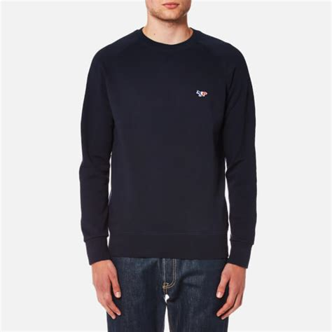Tricolor Fox Patch Sweatshirt maison kitsun 233 s tricolor fox patch sweatshirt navy