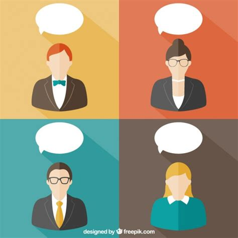 bobble person with speech bubbles banners vector free
