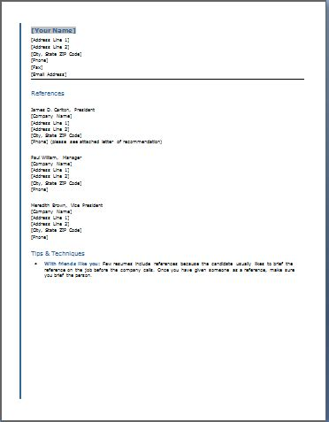 Free Reference Template For Resume how to list references on a resume template