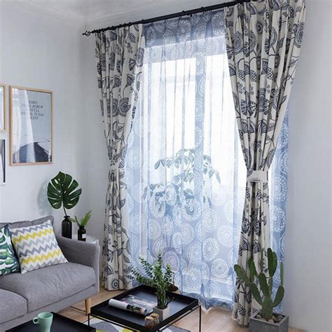 Floral Blue And White Living Room Living Room Decorating by White And Blue Floral Printed Windows For Living Room