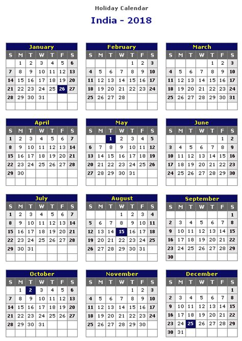 Calendar 2019 India With Holidays India 2018 Printable Calendar 171 Printable Hub