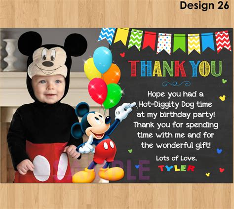 printable thank you cards mickey mouse mickey mouse thank you card with photo mickey thank you card