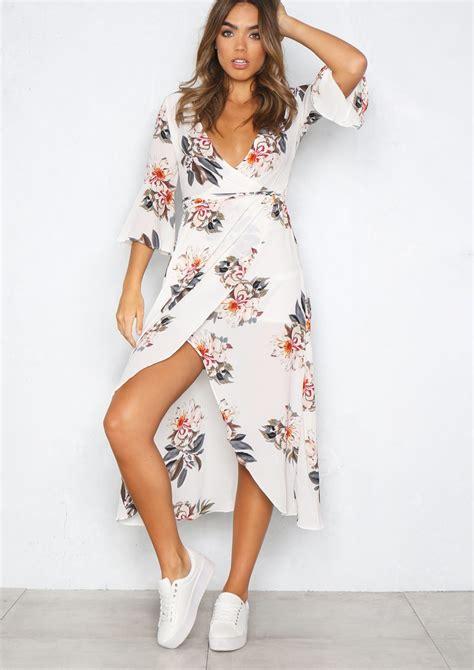 Floral Print Wrap Dress selena white floral print wrap dress empire