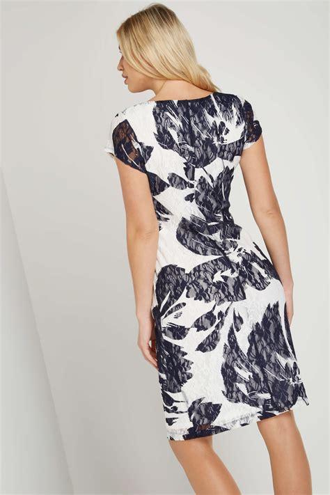 Floral Print Lace Dress floral print lace dress in navy originals uk