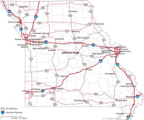 missouri map with cities and towns map of missouri