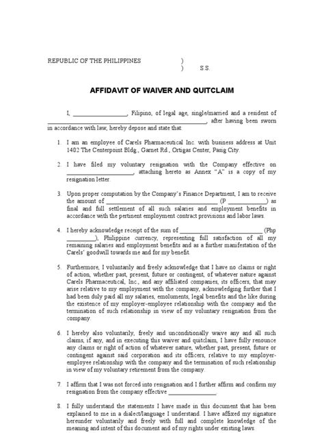 Release Letter For Housemaid quitclaim resign affidavit notary