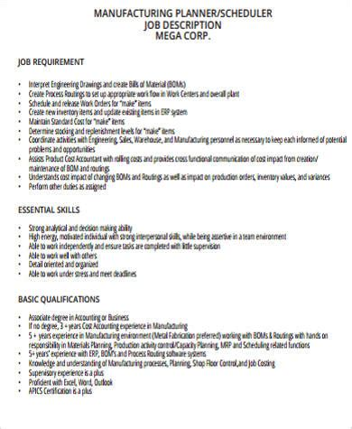 production scheduler job description sle 7 exles