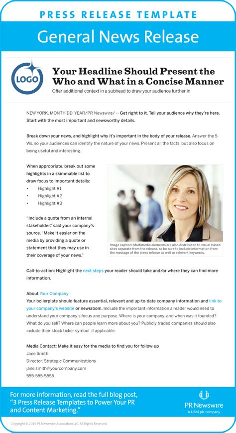 Press Release On Newsletter 3 Press Release Templates To Power Pr Content Marketing