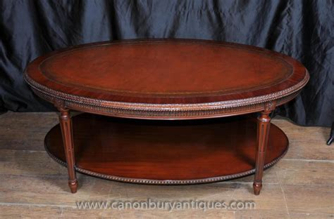 Regency Oval Coffee Table Mahogany Leather Top Tables Oval Mahogany Coffee Table