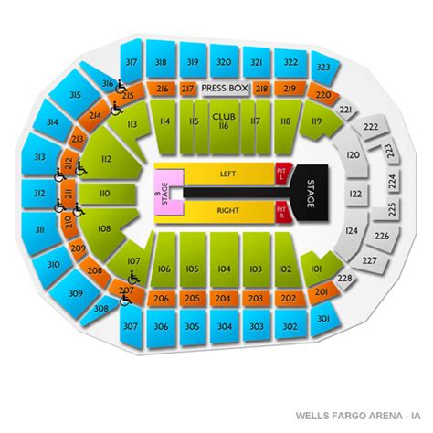 fargo arena des moines seating chart fargo arena seating chart images