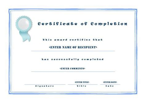 certificate of completion ojt template certificate of completion template microsoft word