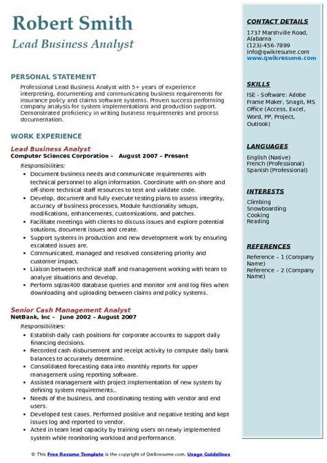 Lead Business Analyst Sle Resume by Lead Analyst Resume Sles Qwikresume
