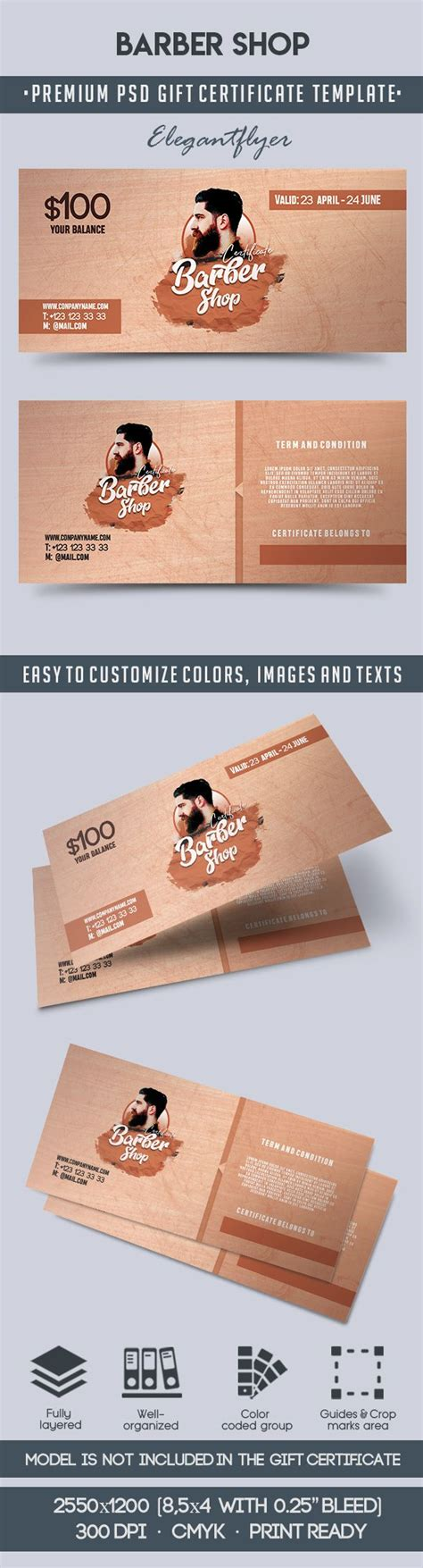 Barber Shop Gift Voucher By Elegantflyer Barber Shop Gift Certificate Template
