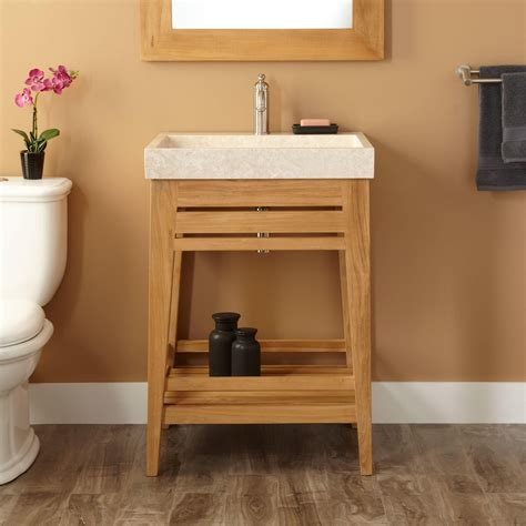 24 quot aurelia teak trough sink vanity natural teak bathroom