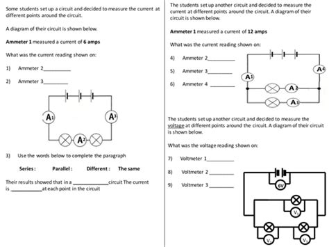 resistors grade 9 current voltage in circuits questions worksheet by elevateeducation co uk teaching resources