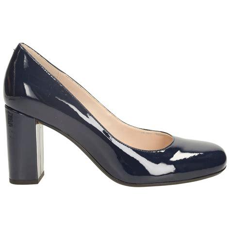 Buckled Patent Low Heel Shoes navy blue block heel shoes heels zone