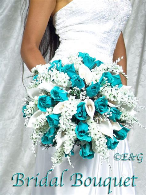 bridal bouquet turquoise wedding bouquets aqua