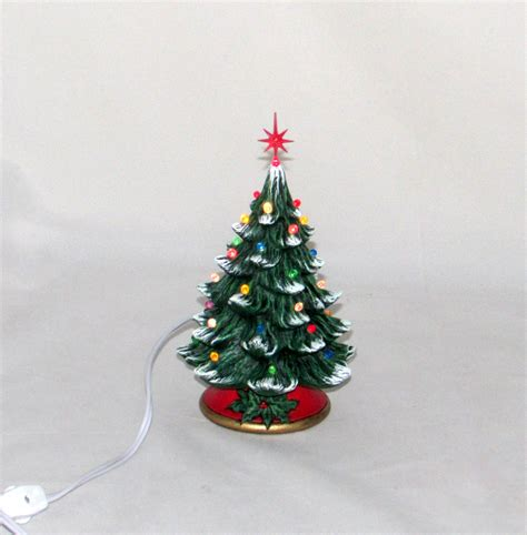 small ceramic christmas tree 7 inches with base hand made