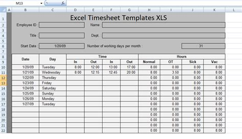 Free Excel Timesheet Templates Xls Free Excel Spreadsheets And Templates Excel Timesheet Template Projects