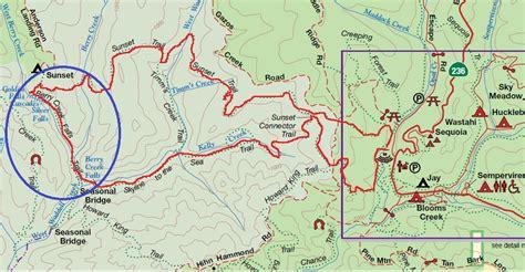 big basin trail map berry creek falls loop in big basin redwoods state park