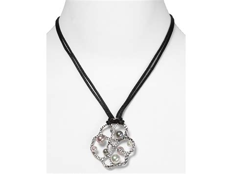 majorica gaudi pendant silk cord necklace in white grey