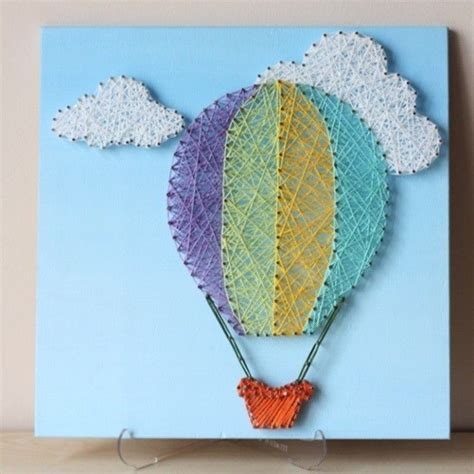 String Wall - air balloon string wall for a nursery room