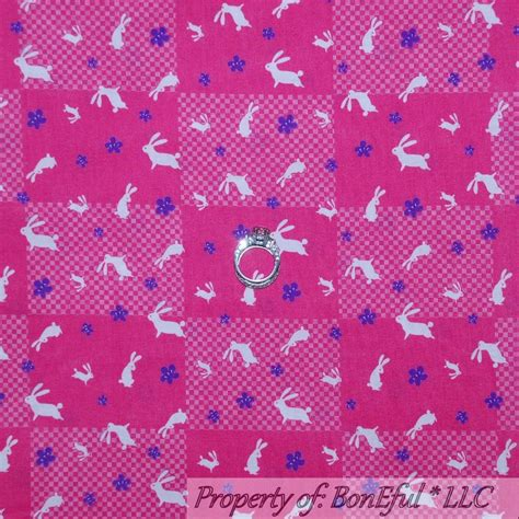 Rabbit Quilt Fabric by Boneful Fabric Fq Cotton Quilt Pink White Purple Easter
