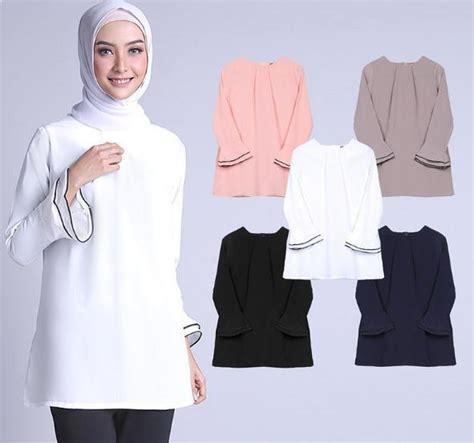 Blouse Muslim Wanita Tunik Ovie kreasi model blus putih kombinasi rok dan modis model baju muslimah batik terbaru 2018