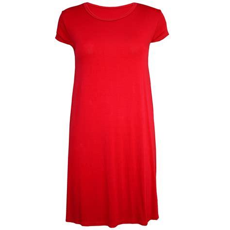 Plain Cap Sleeve Dress womens plain neck cap sleeves jersey flared