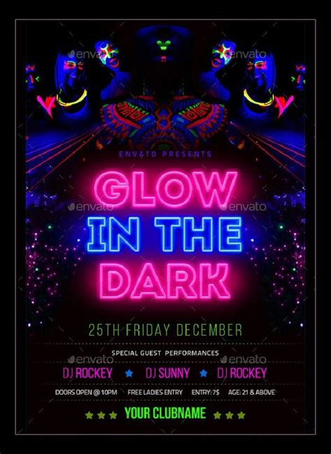 glow   dark party invitations  templates neon