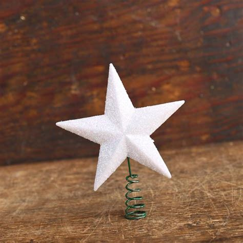 small white iridescent star tree topper miniatures