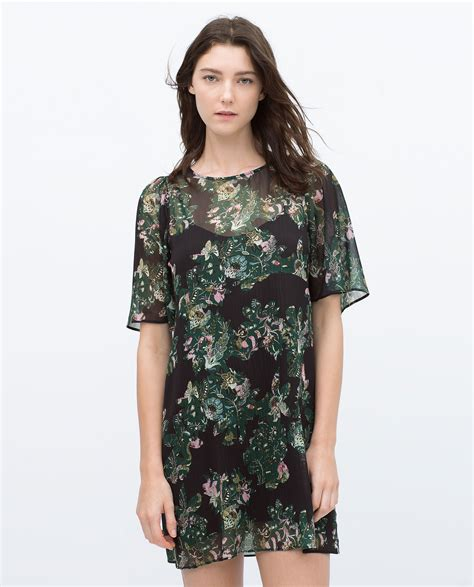 Floral Print Tunic zara floral print tunic in green lyst