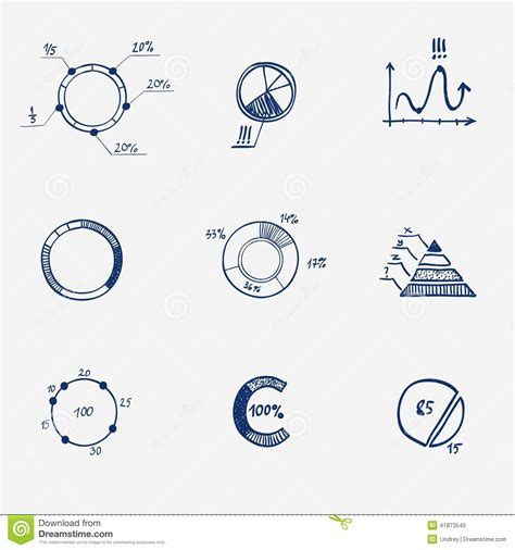 chart draw set of circle chart diagram graph pie draw stock