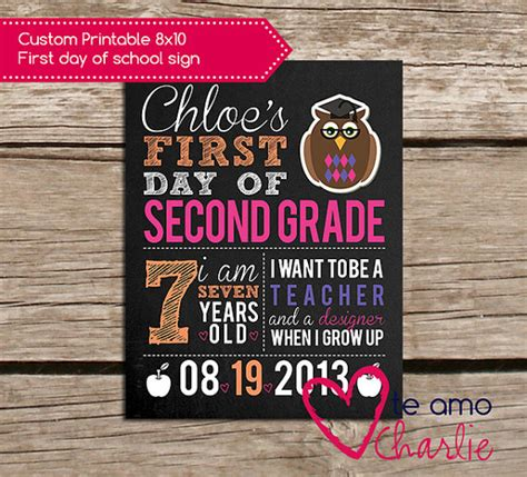 day of school sign template 8 best images of 1st day of school free 8 x 10 printables